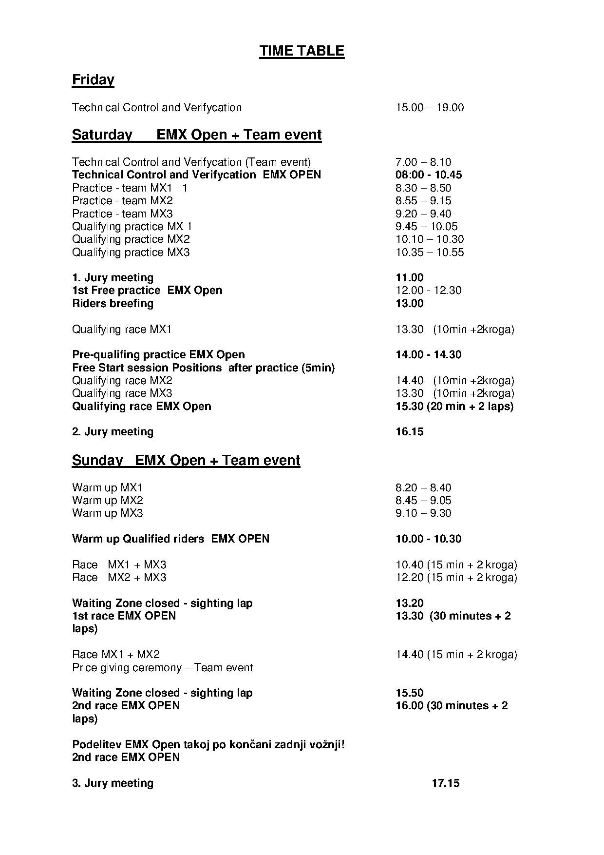 Schedule team Cup  - ENG